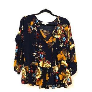 Umgee USA blue floral blouse